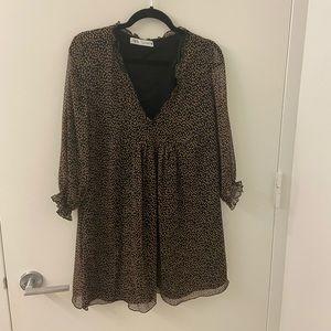 Zara Chiffon Babydoll Dress Black Orange Polka Dot